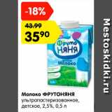 Магазин:Карусель,Скидка:Молоко ФРУТОНЯНЯ