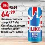 Магазин:Окей супермаркет,Скидка:Напиток слабоалк. газир. Ай Лайк, Коктейль, со вкусом коктейля джинтоник, 7,2%