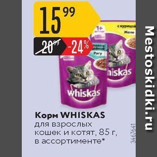 Акция - Корм WHISKAS для взрослых кошек и котят
