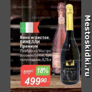 Акция - Вино игристое Бинелли Премиум