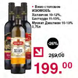 Акция - Вино столовое ИЗЮМОВЪ Халанчак 10-12%, Бастардо 11-13%, Мускат Джалман 10-13%