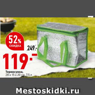 Акция - Термосумка,  28 х 15 х 20 см, 7,5 л