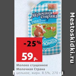 Акция - Молоко Сгущенное Молочная страна