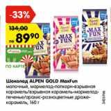 Шоколад ALPEN GOLD MaxFun молочный, мармелад-попкорн-взрывная карамель/взрывная карамель-мармелад- печенье/арахис-разноцветные драже- карамель, 160 г