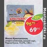 Скидка: Масло Крестьянское, сладко-сливочное высший сорт, Родная Кухня 72,5%