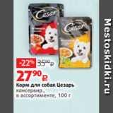 Магазин:Виктория,Скидка:Корм для собак Цезарь консервир., в ассортименте, 100 г
