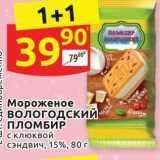 Магазин:Дикси,Скидка:Мороженое вологодский ПЛОМБИР