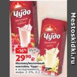 Магазин:Виктория,Скидка:Молоко/молочный коктейль Чудо в ассортименте, жирн. 2-3%, 0.2 л