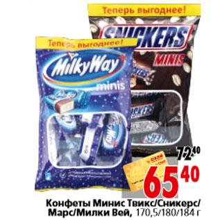 Акция конфеты минис твикс сникерс
