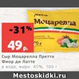 Скидка: Сыр Моцарелла Претто Фиор ди Латте в воде, жирн. 45%, 100 г