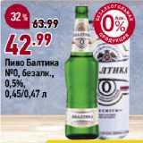 Окей супермаркет Акции - Пиво Балтика №0, безалк., 0,5%