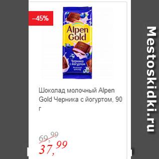 Акция - Шоколад молочный Alpen Gold Черника с йогуртом