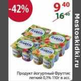 Магазин:Полушка,Скидка:ПРОДУКТ ЙОГУРТНЫЙ ФРУТТИС 0,1%