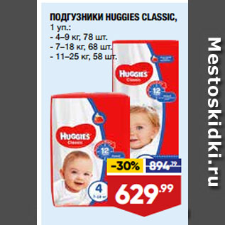 Акция - ПОДГУЗНИКИ HUGGIES CLASSIC