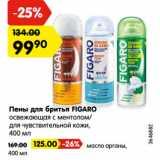 Скидка: Пены для бритья FIGARO  освежающая с ментолом/ для чувствительной кожи