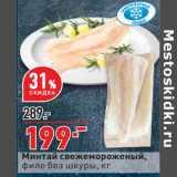 Магазин:Окей,Скидка:Минтай свежемороженый, филе без шкуры