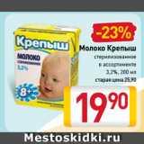 Магазин:Билла,Скидка:Молоко Крепыш стерилизованное в ассортименте 3,2%